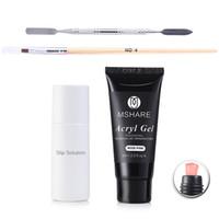 Kit 60ml PolyGel Professional Nail Enhancement Pink Chiaro French White Nails Poly Gel + Slip Solution + Brush pen + Palette