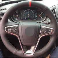 Couverture de volant de voiture en cuir noir cousu à la main noir pour Buick Regal Opel Insignia 2014 2015