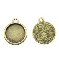 50 Pezzi Cabochon Cameo base del vassoio pannello di copertura degli accessori dei monili Classic Single Side formato interno 14 millimetri Impostazione Collana rotonda