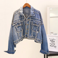 Fashion Denim Jacket Womens 2018 Autumn Harajuku Rivet Diamo...