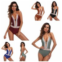 Women Lace Patchwork Swimwear Bikini V Neck One Piece Lace u...