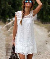 2019 vestido de verão, europeu e renda branca americano, elegante vestido sem mangas 2 peças.