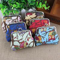 Frauen Leinwand Münze Tasche Schlüssel Geldbörse Geldbörse ändern Tasche Halter Veranstalter Retro Eule Geldbörse Portable Mini Wallet Zip Coin Taschen