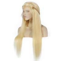 613 # blonde menschliche haare spitze frontperücken lange gerade perücke für schwarze frauen brasilianische volle spitze menschliche haarperücken vorgepuckt großhandel