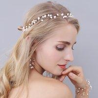 Joyas de perlas conjuntos de tiaras nupciales Pendientes Cadena Romatic Boho Estilo Accesorios de novia con Encanto