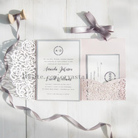 Blush Pink And Gray Laser Cut Pocket Wedding Invitations, Cu...