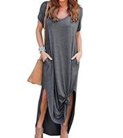 Женские летние платья мода дамы свободные пуловер макси юбка повседневная юбка повседневный сплошной цвет длинное платье с коротким рукавом карманный сарафрандильник женская одежда S-5XL