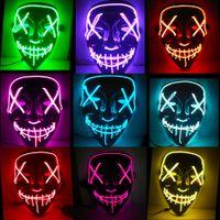 Cadılar bayramı Maskesi LED Işıltılı Karnaval Parti Korku Maskeleri Tasfiye Seçim Yıl Komik Maskeleri Festivali Cosplay Kostüm Malzemeleri Glow Karanlık