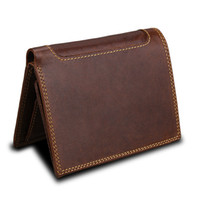 New Trifold Coin Mens Vintage Leather 10 Credit Large Card Cowhide Bags Genuine Capacity Card Holder Protector Wallets Brown W111 Afnet