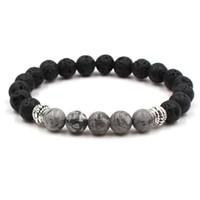 7 farben diy ätherisches öl diffusor armband schwarz lava stein perlen tigerauge stein verwittern achat perlen armband schmuck
