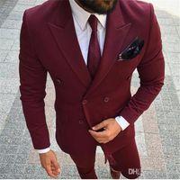 38defb84972bb Trajes de hombres Borgoña Wine Red Blazer cruzado Novio Trajes de boda del  smoking Slim Fit