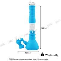 Beaker Base Silicone Bongs Acqua Pipes 3 Filtration Glass Filter Bowl Silicone Oil DAB Rig per fumare con catcher DHL Spedizione gratuita