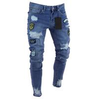 Toptan Satış - Toptan-Erkek Jeans marka tasarımcısı eğilim diz delik küçük ayak bileği pantolon Avrupa patlamalar kot pantolon Yırtık Sıska Biker Jeans Yırtık