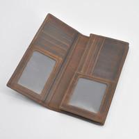 MensGenuine الجلود طويل محفظة الرجال المحافظ لبطاقة حامل الفاصل ريترو المحفظة مجنون حقائب جلدية براون اللون محفظة