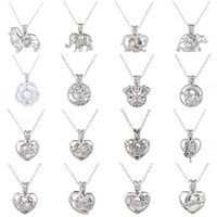 Hot 16 different styles of pearl necklace hollow out necklace clavicle chain peach heart animal figure pendant necklace T6C056