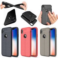 For iPhone XR Cases Litchi Stria TPU Soft Case for iPhone XS...