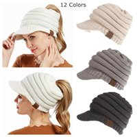 Christmas Gift Women CC Ponytail Caps CC Knitted Hats Fashio...