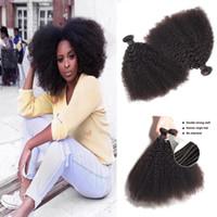 1Bundle / lot Монгольский афро afro kinky вьющиеся девственницы человеческие волосы необработанные ременные волосы волосы двойные Wefts 100g / расслоение волос