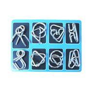 شحن مجاني تسعة تسلسلي 8 قطعة مجموعة لغز حل حلقة قفل اللعب كونغ مينجو الصينية الكلاسيكية لعبة الفكرية جميع الأعمار