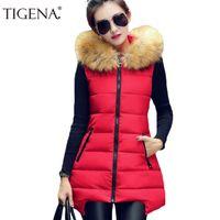 Wholesale-TIGENA Artı Boyutu 4XL Kış Yelek Kadın 2017 Kolsuz Ceket Ceket kadın Yelek Yelek Sıcak Kapşonlu Uzun Yelek Kadın
