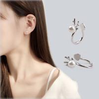1 paar Neue Nette Weihnachtsschmuck Elch Ohrringe Ohrclip für Frauen Künstliche Perle Silber Tier Ohrstecker Ohrringe E5904
