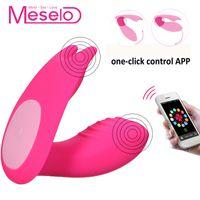 Meselo لبس الهزاز الهاتف app التحكم عن 7 سرعة مزدوجة رئيس الجنس لعب للمرأة clitorial g- بقعة المهبل دسار الهزاز Y18102906