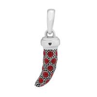Pandulaso Rouge Corne Amulette Corne Pendentif D'origine Sterling Argent Bijoux Fit Charmes Bracelet Bracelet pour femme DIY Perles En Gros