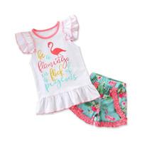 Ins 2 Peças conjuntos Crianças roupas menina verão define flamingo e carta de impressão sem mangas t shirt + curto conjuntos de roupas menina pequena