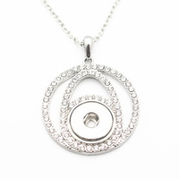 Newest Silver Snap Necklace Hollow Out Round Full Crystal 18...