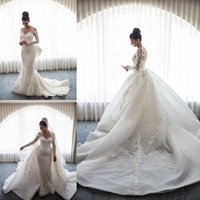 Luxurious Detachable Train Ivory Wedding Dresses Church Brid...