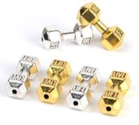 100 adet Antik Gümüş Halter Dambıl Spacer Boncuk Charms fit Diy Boncuklu Spor Bilezikler Yapma 8 * 20mm