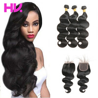 8A body wave Hair With Closure 3 Bundles with Closure indian...
