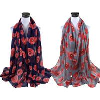 Bufanda de las mujeres señoras rojas de impresión de amapola mantón bufandas silenciador suave gasa Wrap toalla de playa pañuelo pañuelo fino