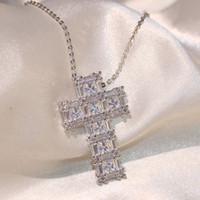 2018 جديد وصول أعلى بيع المجوهرات الفاخرة 925 فضة ستة الأميرة قص 5a مكعب زركونيا الصليب قلادة سلسلة قلادة للنساء