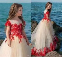 Latest A- Line Lace Appliques Flower Girl Dresses Jewel Short...