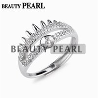 5 Pieces Crown- like Two Layer Zircons Pave Setting Pearl Rin...