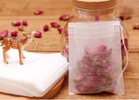 1000 unids / lote PLA biodegradado Tea Bag Filters Ultrasonidos de Fibra de Maíz Cordones té bolsas filtro de café