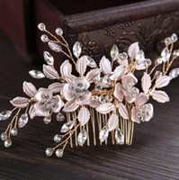 Rose Gold Düğün Gelin Gelinlik Gümüş El Yapımı Yapay elmas İnci Saç Combs Kafa Masquerade Saç Aksesuarları başlıkiçi Fascinators