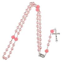 Новый розовый розарий Мадонна Иисус крест ожерелье подвески Imtation Жемчужная цепь мода ювелирные изделия подарок для женщин
