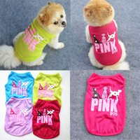 New Pink Lettera Dog Vest moda vestiti per Puppy Summer Pet Gilet Dogs T Shirt spedizione gratuita