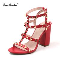 Women Chunky Heel Sandals Handmade Rivet High heels Hot Sale...