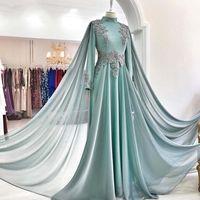 Musulmanes de manga larga vestidos de baile de Dubai Una línea de gasa partida del Applique del cordón largo de la vendimia del vestido de noche del partido de cuello alto Glamorous Vestidos