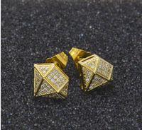 uomini stud Hip Hop Full Iced Out Cz diamante simulato orecchino color oro irregolare orecchino di rame di alta qualità DJ punk stud