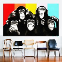 NEW Animal Canvas Handpainted Art Oil Painting Поп-арт Funny Chimps Домашнее украшение на холсте Multi Размеры A076