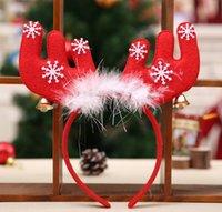 Merry Christmas süsler çan tüy kafa bandı süslemeleri boynuzları Noel kafa bandı parti Noel süslemeleri bez kafa hediyeler