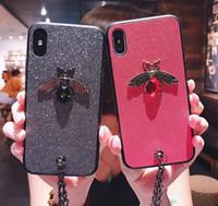 Модный тренд Diamond Bee Glitte мягкий чехол для Samsung S8 S9 Plus Симпатичный фирменный чехол для iphone 6 6s 7 8Plus X XR XS Max