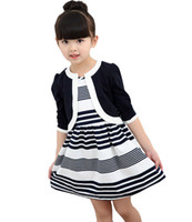 Nouveau printemps et en automne de coton rayures enfants autour du cou costume section mince veste à manches longues fille robe bébé fille robe