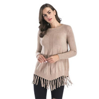 WKOUD 2018 Fashion Candy Color Sweaters Women New Sexy Tassel Knitted Pullovers Casual Long Sleeve O-neck Sweaters M8075