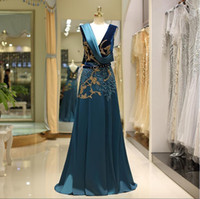 2019 newest real pictures dark blue floor length formal even...