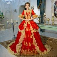 Personalizado 2021 Renascimento Rococo Medieval Rococo Máquérato Vestidos Vermelhos de Manga Curta Ruffle Marie Antoinette Período Vestido Vestidos de Bola